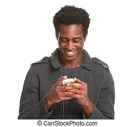 Black man with smartphone