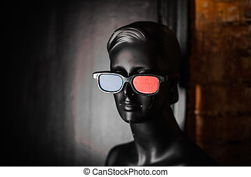 Black mannequin in stereo glasses - Black mannequin in...