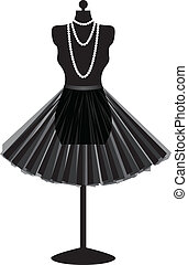 black mannequin with skirt - silhouette empty black...