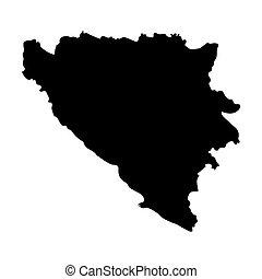 black map of Bosnia and Herzegovina