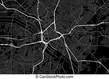 Black map of downtown Dallas, U.S.A