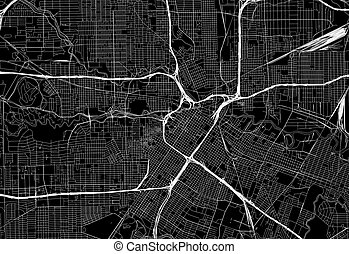 Black map of downtown Houston, U.S.A