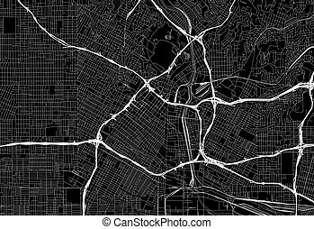 Black map of downtown Los Angeles, U.S.A