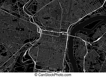 Black map of downtown Philadelphia, U.S.A