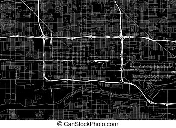 Black map of downtown Phoenix, U.S.A