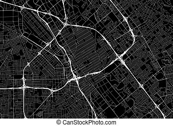 Black map of downtown San Jose, U.S.A