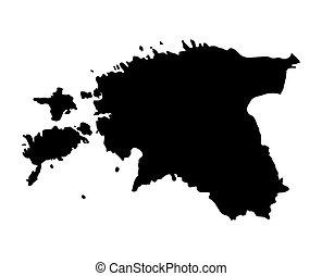 black map of Estonia