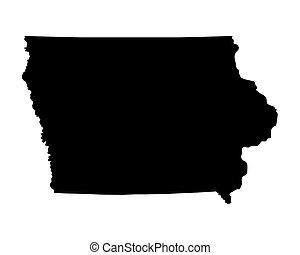 black map of Iowa