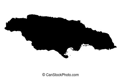 black map of Jamaica