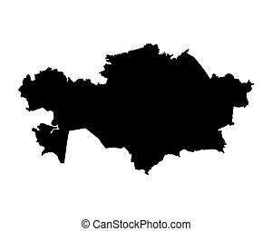 black map of Kazakhstan