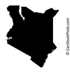 black map of Kenya