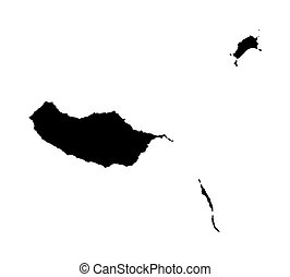 black map of Madeira
