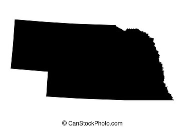 black map of Nebraska