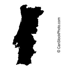 black map of Portugal
