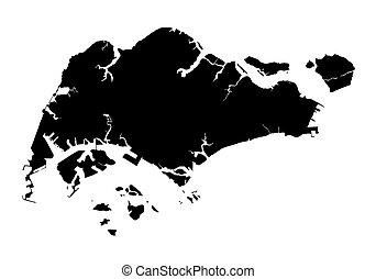 black map of Singapore