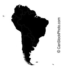 black map of South America with borders of all countries