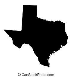 black map of Texas