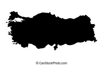 black map of Turkey