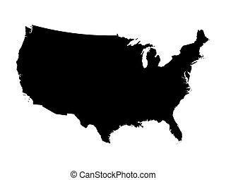 black map of United States