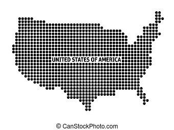 Black Map of USA