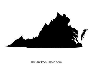 Black map of Virginia