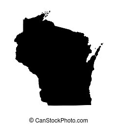 black map of Wisconsin