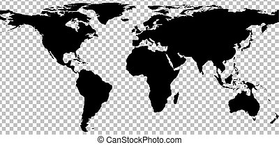 Black map of world on transparent background