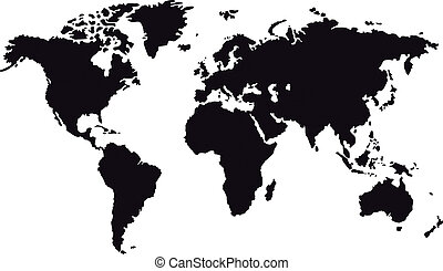 Black map of world