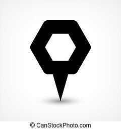 Black map pin flat location sign hexagon icon