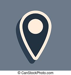 Black Map pin icon isolated on grey background. Pointer symbol. Location sign. Navigation map, gps, direction, place, compass, contact, search concept. Long shadow style. Vector Illustration