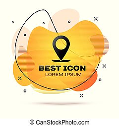Black Map pin icon isolated on white background. Pointer symbol. Location sign. Navigation map, gps, direction, place, compass, contact, search concept. Fluid color banner. Vector Illustration