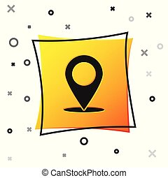 Black Map pin icon isolated on white background. Pointer symbol. Location sign. Navigation map, gps, direction, place, compass, contact, search concept. Yellow square button. Vector Illustration