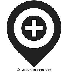 Black map pin,