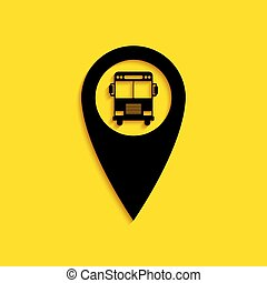 Black Map pointer with bus icon isolated on yellow background. Long shadow style. Vector