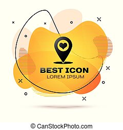 Black Map pointer with heart icon isolated on white background. Fluid color banner. Vector Illustration