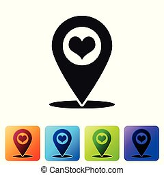 Black Map pointer with heart icon isolated on white background. Set icon in color square buttons. Vector Illustration