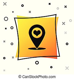 Black Map pointer with heart icon isolated on white background. Yellow square button. Vector Illustration