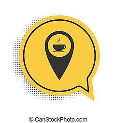 Black Map pointer with hot coffee cup icon isolated on white background. Yellow speech bubble symbol. Vector