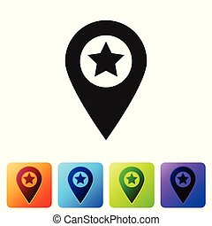 Black Map pointer with star icon isolated on white background. Star favorite pin map icon. Map markers. Set icon in color square buttons. Vector Illustration