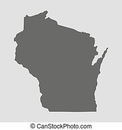 Black map state Wisconsin - vector illustration. - Black map...
