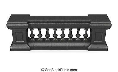 Black marble balustrade isolated. 3d rendering
