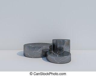 black marble podium  on white background. 3d rendering.