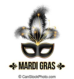 Black Mardi Gras carnival mask with feathers - Black Mardi...