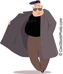 Black market salesman cartoon, EPS 8 vector illustration, no...