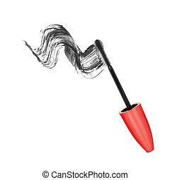 Black mascara brush strokes isolated on white