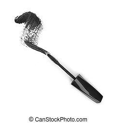 Black mascara stroke isolated on white background