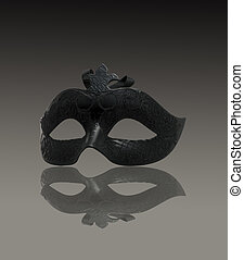 Black Mask on gray gradient background