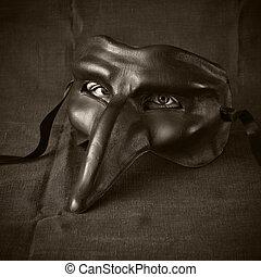 black mask with eyes - surreal mask