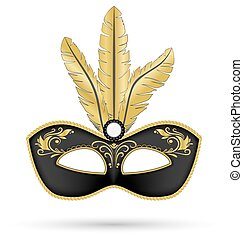 Black mask with golden feathers