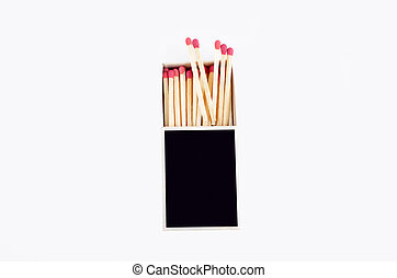Black matchbox isolated on white, top view